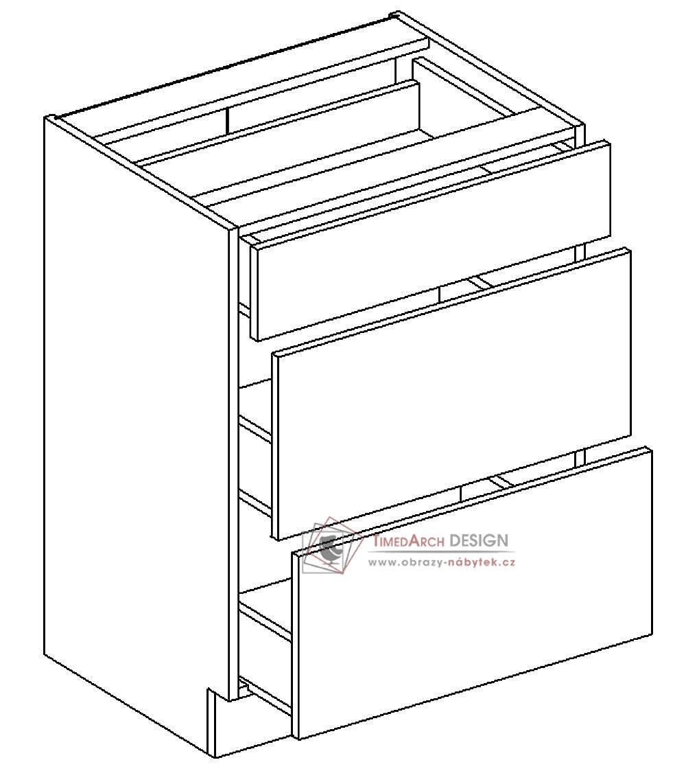 Dolní skříňka se zásuvkami D60/S3 PAULA šedá / bílý mat