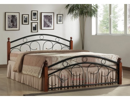 PARIS, kovová postel 180x200cm, černá / třešeň