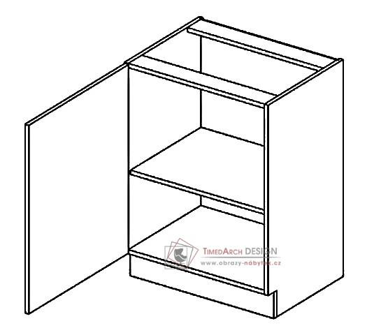 Dolní skříňka D60 PAULA šedá / bílý mat - levá