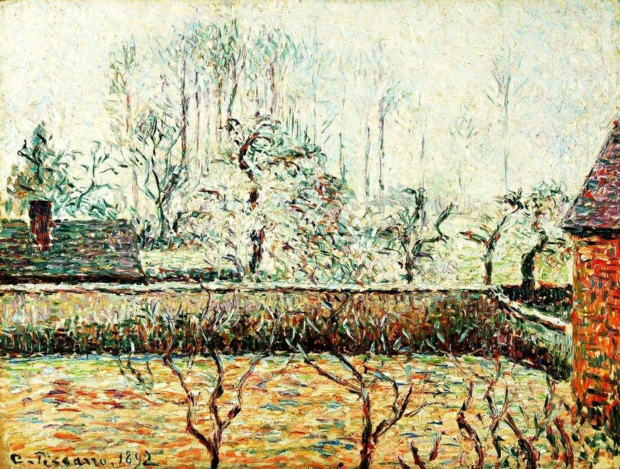 Obraz VCP-346 Camille Pissarro - Krajina s domem a zděným plotem v Eragny