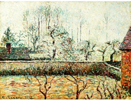 VCP-346 Camille Pissarro - Krajina s domem a zděným plotem v Eragny