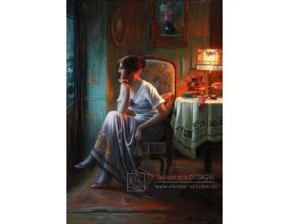 Slavné obrazy I-DDSO-279 Max Carlier - Mladá žena ve světle lampy