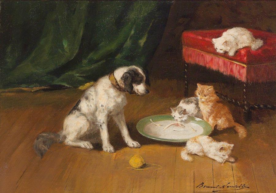 Slavné obrazy XVI-104 Alfred Arthur Brunel de Neuville - Pes a kočky