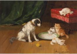 Slavné obrazy XVI-104 Alfred de Neuvill - Pes a kočky