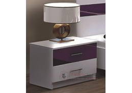 DUBAJ, noční stolek, bílá / fialové sklo