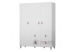 FIERA, šatní skříň 3-dveřová se 4-mi zásuvkami 3D 153 cm, bílá