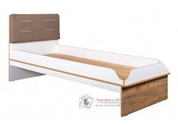 WOODY, postel 90x200cm, bílá / dub kraft zlatý