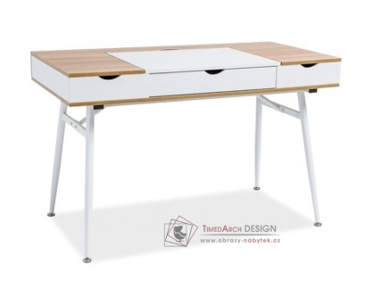 B-151, pracovní stůl, bílá / dub
