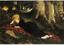 Slavné obrazy XI-95 Gyula Benczúr - Žena odpočívající v lese