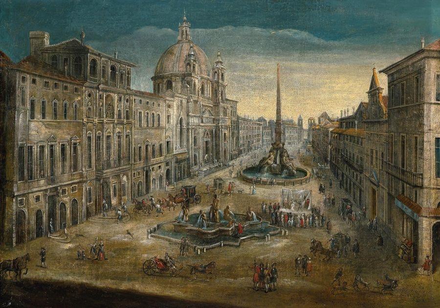 Slavné obrazy XIV-81 Neznámý autor - Piazza Navona v Římě