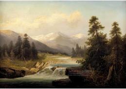 Slavné obrazy XVI-11 Adolf Kaufmann - Řeka v horské krajině