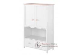 POLONA 11, komoda 2-dveřová se zásuvkou, bílá / růžová