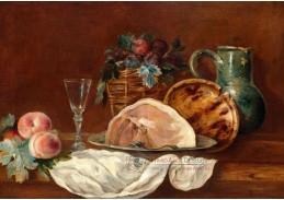 A-1310 Anne Vallayer-Coster - Zátiší s broskvemi a švestkami v košíku a šunkou