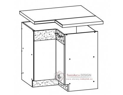 MODENA, dolní rohová skříňka 90/90 MD21/D90NW, výběr provedení