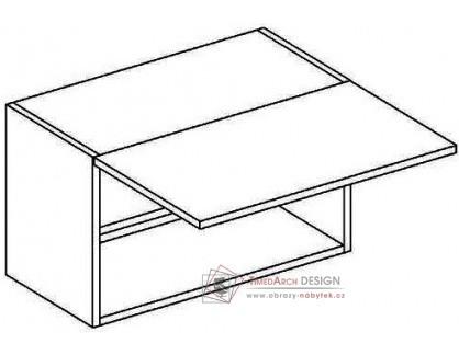 MERLIN, horní skříňka nad digestoř WO 80/35, šedá / bílý lesk