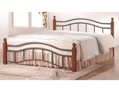CALABRIA, kovová postel 180x200cm, černá / třešeň