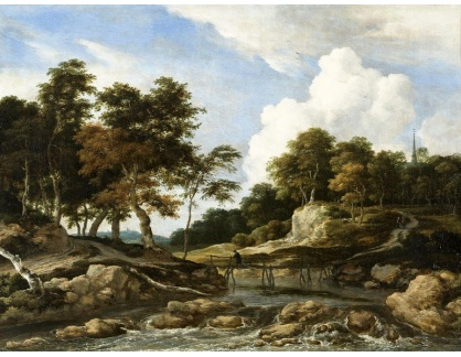 KO III-185 Jacob van Ruisdael - Zalesněná říční krajina s mostem
