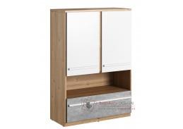FLAMY 04, skříňka 2-dveřová se zásuvkou 2D1S, dub nash / šedá / bílá
