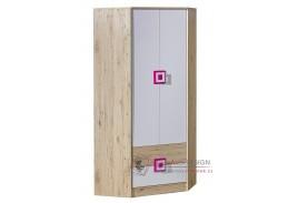 NIKO 02, šatní skříň rohová, dub jasný / bílá / růžová