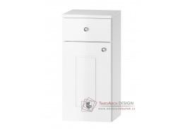 ARMOY, dolní koupelnová skříňka 1-dveřová se zásuvkou D30S/1 P/L s PD, bílá / bílý lesk