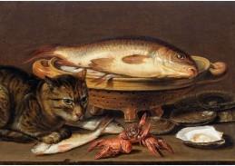 DDSO-4500 Clara Peeters - Zátiší s kočkou, rybami, ústřicemi a raky