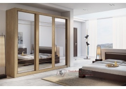 ARTI 02, šatní skříň s posuvnými dveřmi 250cm, dub shetland / zrcadla
