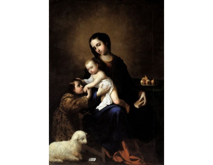 Slavné obrazy XVII-102 Francisco de Zurbaran - Madonna a dítě s Janem Křtitelem
