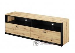 TOPRI 03, televizní stolek se 2-mi zásuvkami 2S, dub artisan / černá