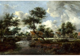 Slavné obrazy VI-105 Meindert Hobbema - Vodní mlýn