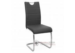 ABIRA NEW, jídelní židle, chrom / ekokůže černá