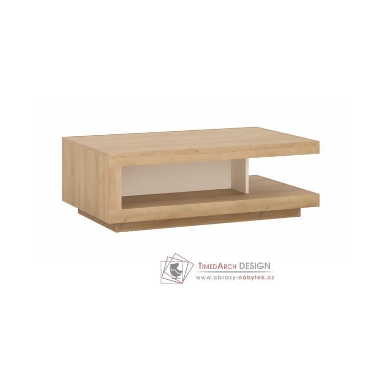 Konferenční stolek LEONARDO dub riviera / bílá extra vysoký lesk HG