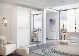 IDEA 12, šatní skříň s posuvnými dveřmi 203cm, bílá / zrcadlo