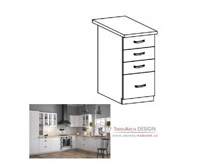 Dolní skříňka se 4-mi zásuvkami D40S4 PROVANCE bílá / borovice Andersen