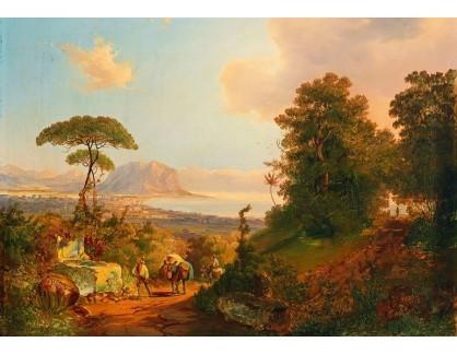 Slavné obrazy III-DDSO-508 Carl Schwenninger - Pohled na zátoku v Palermo s Monte Pellegrino