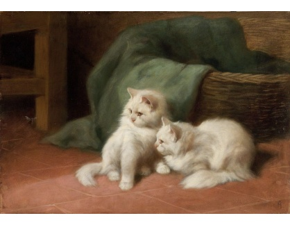 Slavné obrazy XVI-269 Arthur Heyer - Dvě koťata