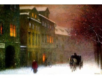 Jakub Schikaneder - Ulice s drožkou v zimním podvečeru