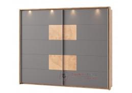 LIVORNO 72, šatní skříň s posuvnými dveřmi 270cm, dub wotan / šedá bazalt