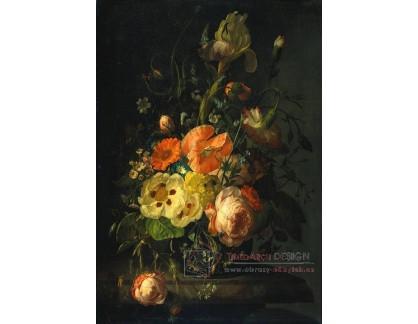 VH794 Rachel Ruysch - Zátiší s květinami na mramorovém stole