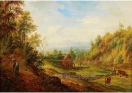 Slavné obrazy IX DDSO-618 Franz Schütz - Krajina s vodním mlýnem a dobytkem