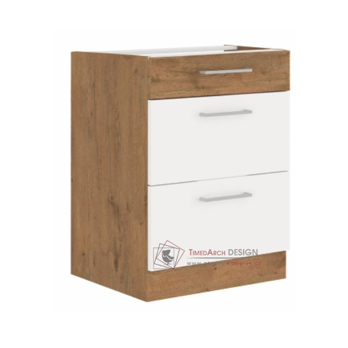 Dolní kuchyňská skříňka VEGA D60 3S BB dub lancelot / bílá extra vysoký lesk HG