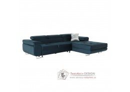 AMARETA, sedací souprava - pravá, látka modrá
