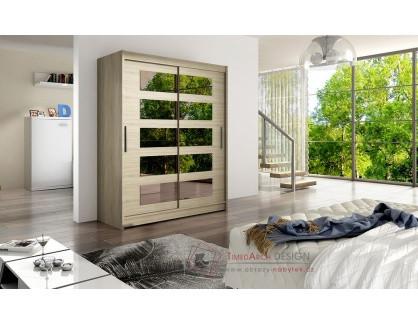 WESSTA V, šatní skříň s posuvnými dveřmi 150cm, dub sonoma / zrcadla
