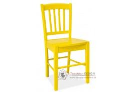 CD-57, jídelní celodřevěná židle, žlutá