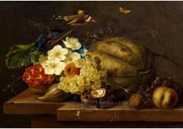 A-1326 Franz Xaver Petter - Zátiší s květinami, ovocem, stehlíkem a motýlem