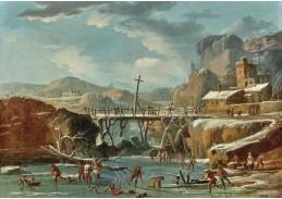 D-5989 Neznámý autor - Zimní krajina s postavami na zamrzlé řece