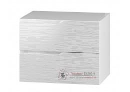 NARAN, dolní koupelnová skříňka pod umyvadlo DUM 60 S/2, bílá / bílý lesk vzor