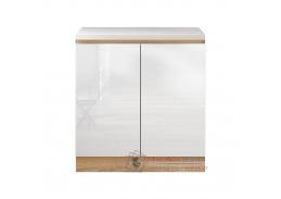 LINE, dolní skříňka 2-dveřová D80, dub sonoma / bílý lesk
