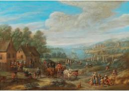 D-5941 Karel Breydel - Říční krajina s vesnicí a cestovatelem