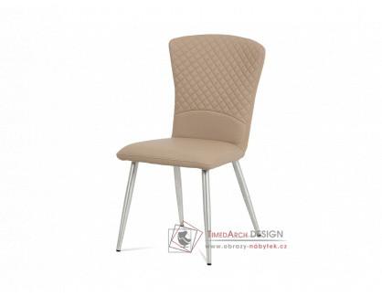 HC-666 CAP, jídelní židle, broušený nerez / ekokůže cappuccino