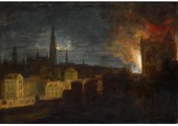 Slavné obrazy XIII-134 Daniel van Heil - Hořící radnice v Antverpách